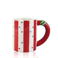 Red stripe handmade custom mugs with big handle