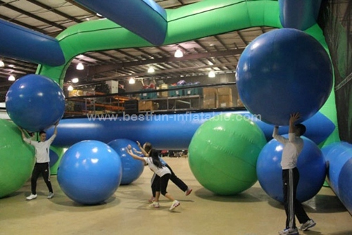 Big balls inflatable obstacle course challenge