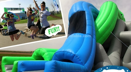 Giant inflatable cross double lane water slide