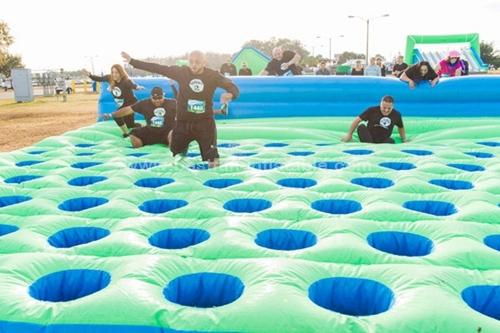 Inflatable sport games mattress run