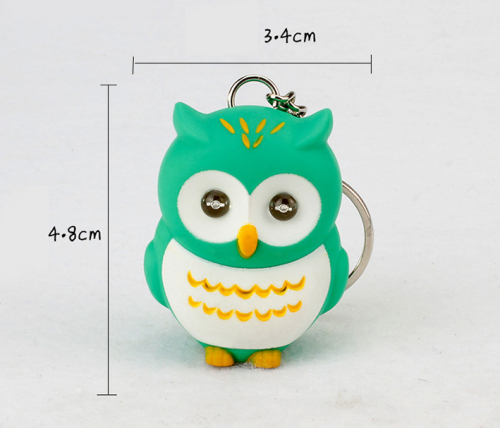 LED Cartoon Owl Sound Keychain