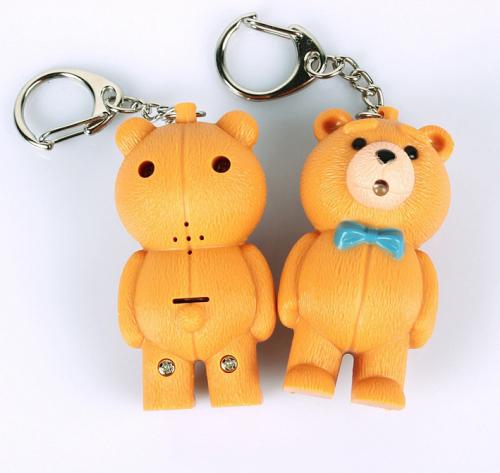 LED Teddy Bear Sound Keychain