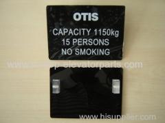 OTIS elevator parts name plate 1150KGS