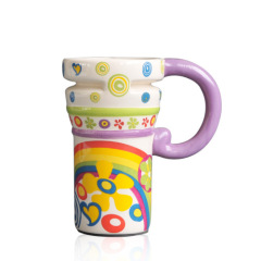 Colored drawing Large Mugs with plastic lid
