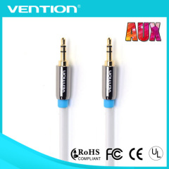 3.5MM Male To Male Cable round white metal connector aux cable