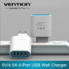 Hot selling 4 Ports USB Wall Charger Adapter EU Plug 5V 4.5A USB Portable Home Travel Charger for Mobile Phon