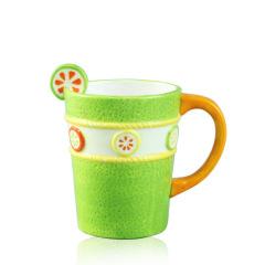 3d shape Green Color Fruit pattern ceramic Water Mug