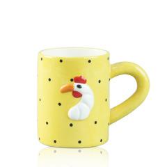 Yellow spots chicken pattern ceramic Handmade Mugs
