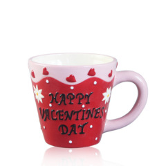 8 oz insulated double wall ceramic coffee cup in valentine's day