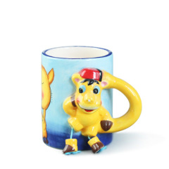 Animal print ceramic kids mug with horse handle for decorative
