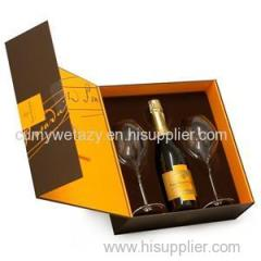 Square Packaging For Red Wine With Recycled Grey Board Top Sheet Liner Sheet 4 Colors Embossing Uv Ink