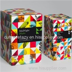 Square Packaging For Drinks With Art Paper Matte Coated Paper 4 Colors Golden Hot Stamp