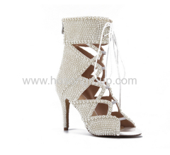 Latest style open toe beads decorated women sandals