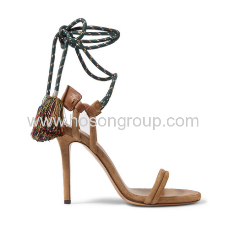 Fashion camel ankle strap stiletto heel sandals