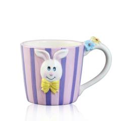 Purple stripe ceramic Tea mug with Rabbit animal pattern