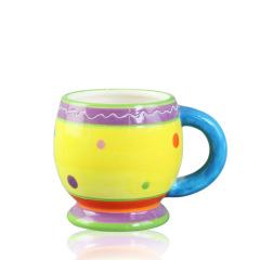 Rotundity ceramic big coffee mug with big handle for decorative