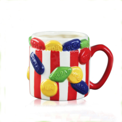 Candy ceramic Large coffee mugs with red stripe for decorative