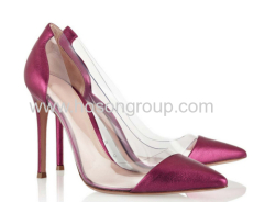 Fuchsia pointed toe stiletto heel shoes