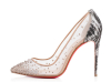 New fashion mesh snake texture heel shoes with studs
