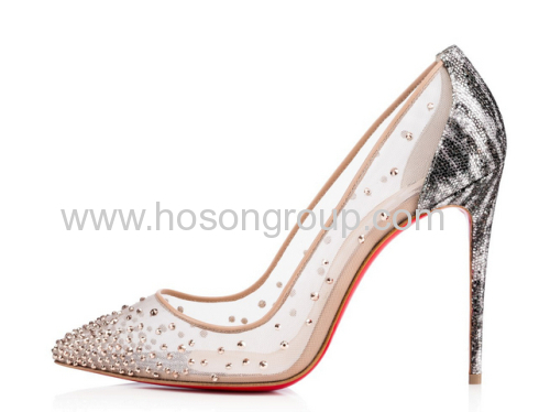 New style mesh high heel shoes with rivets