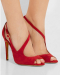 New style red peep toe buckle stiletto heel sandals