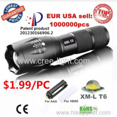 USA EU Hot E17 XM-L T6 Aluminum Waterproof Zoomable Flashlight Torch light for 18650 Rechargeable or AAA