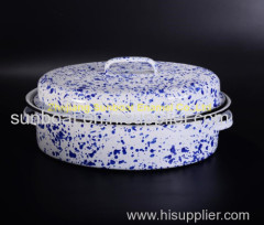 mid-size white+blue cast iron kitchen cookware enamel roaster pan
