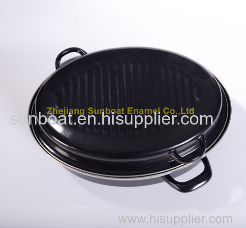 large capacity cast iron enamel cookware turkey roaster pan