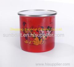 red color 8*8cm dimension cast iron enamel travel mug