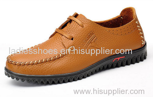 genuine leather mens falt shoes