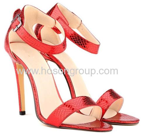 New fashion snake texture stiletto heel dress sandals