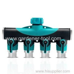 Plastic garden hose 4-way splitter with oversize valve