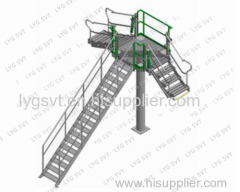 Folding stairs step ladder for safe access to truck / train tank