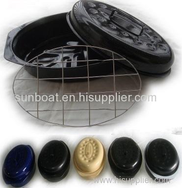 mini size 13 inch cast iron enamel oval roaster with rack inside
