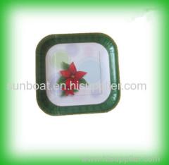 cast iron painted enamel square plate