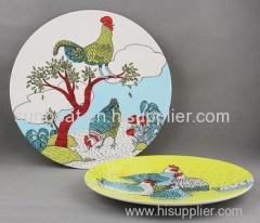 chinese style customized color painted enamel round plate