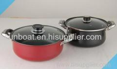 cast iron enamel stock pot with glass cover and handle