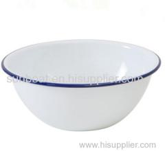 white color blur rim cast iron hand-painted enamel mixing bowl