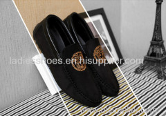 flat PU suede men shoes