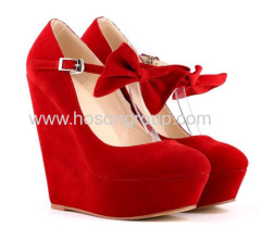 New fashion multi color bowtie wedge heel shoes