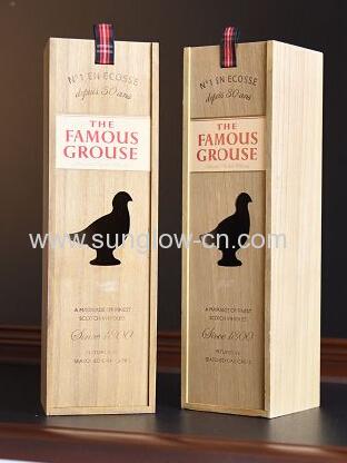 Wooden Wine Box With Bird Design