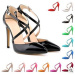 New fashion buckle and elastic band high heel dress shoes