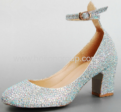 Fashion rhinestone round toe buckle strap chunky heel wedding shoes