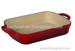 cast iron enamel baking tray with handle