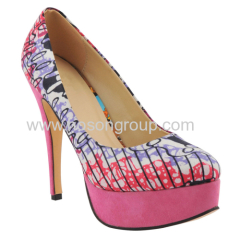 New fashion round toe African Printed Fabric stiletto heel shoes