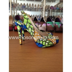 New fashion African Printed Fabric peep toe stiletto heel sandals