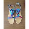 New style African Printed Fabric flat sandals