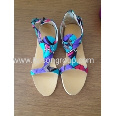 New fashion African Printed Fabric open toe flat sandals
