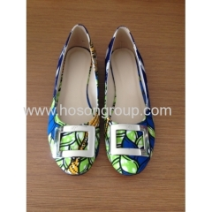 New fashion African Printed Fabric round toe flat shoes