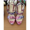 New style African Printed Fabric open toe high heel sandals